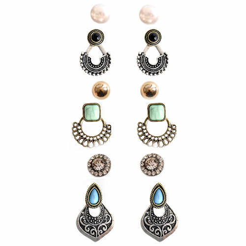 Fashion style gorgeous women's jewelry wholesale girls birthday party pearl nail set 6 pairs/set earrings free shipping