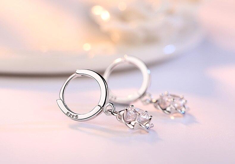 Fanqieliu Real 925 Sterling Silver Drop Earrings Flower Purple Rhinestone Jewelry Fashion Earrings For Women FQL193217