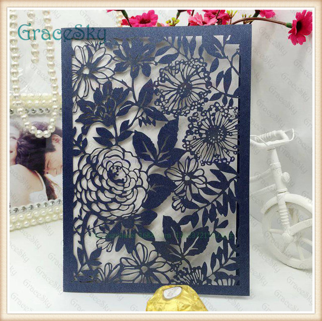 50PCS Free Shipping Laser Cut FlowersLeaf Pattern Hollow Paper Wedding Birthday Invitation Cards With Inner Blank Sheet