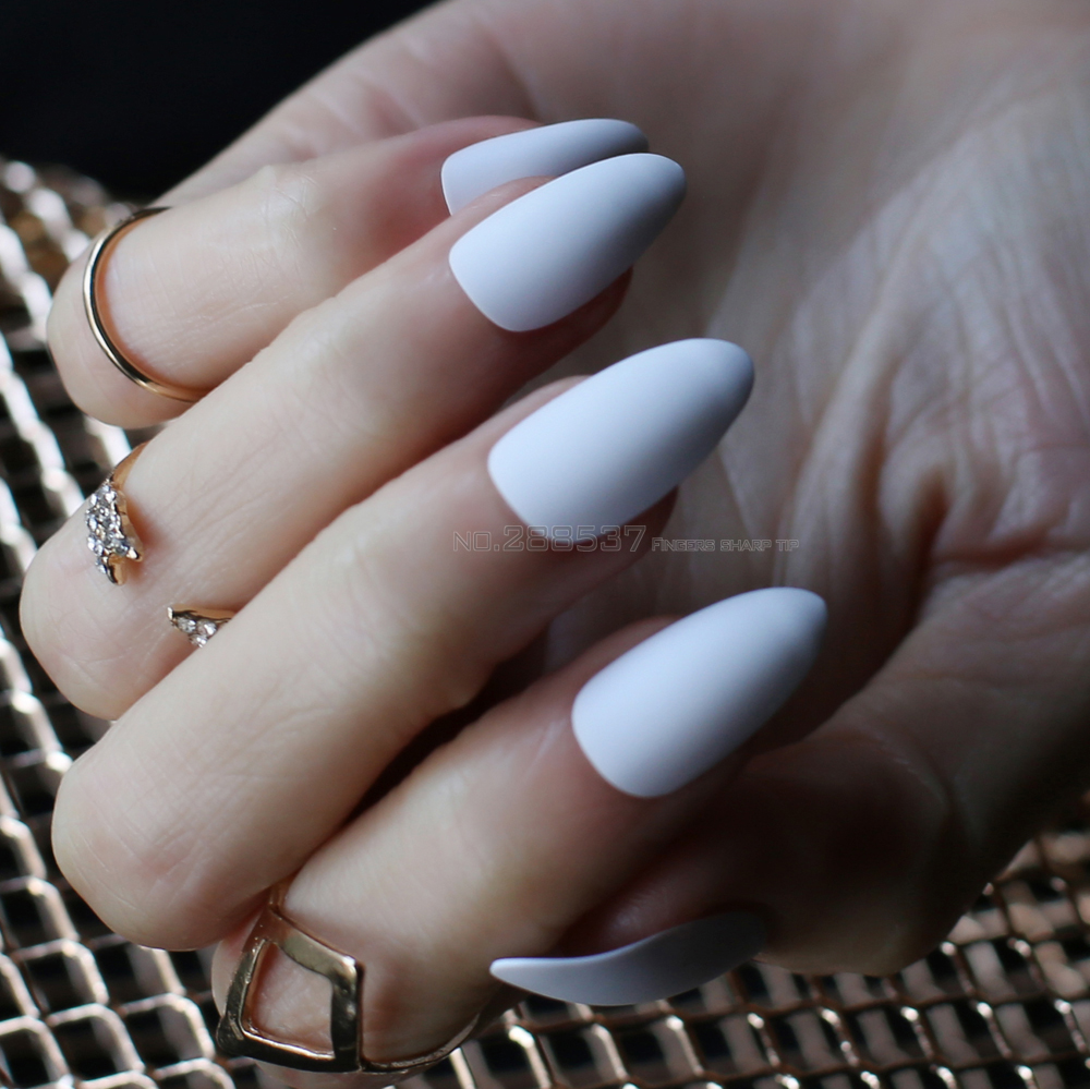Pure colour New mountain peak Designs white Artificial nail Fashion ...