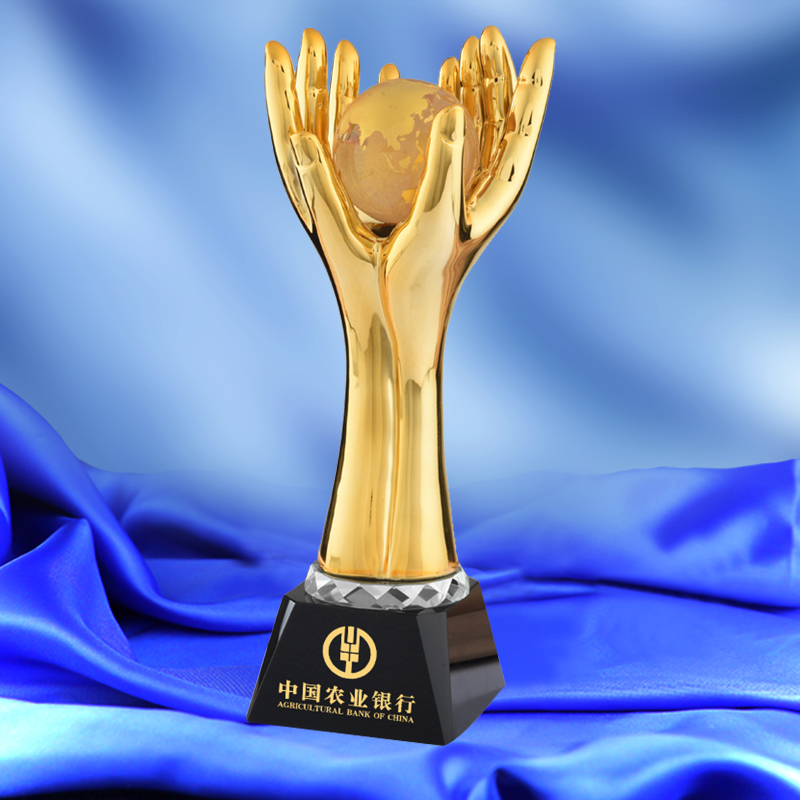 1 Piece Earth In Palms Shaped Resin Trophy Environment Protection Competitions Awards Athletic Champion Award Cup Sport Souvenir metal trophy with a crystal earth international competition award cup oscar trophy golden ball award