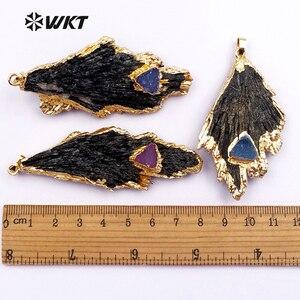 Image 4 - WT P1369 قلادة حديثة الطراز عالية الجودة على شكل ورقة شجر مع حجر دروزي صغير لصنع المجوهرات