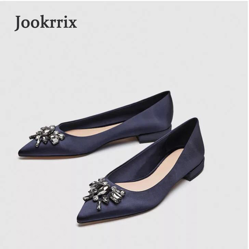 Jookrrix 2018 New Spring Summer Girl Fashion Brand Shoes Women Rhinestone Lady Casual Flats Blue Shoes Crystal Sexy Lady Soft new 2018 spring summer shoes women flats soft leather fashion women s casual brand shoes breathable comfortable
