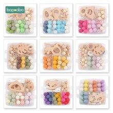 Bopoobo 1 set 아기 teether diy 실리콘 구슬 젖꼭지 클립 체인 아기 모바일 양모 공 bpa 무료 나무 크로 셰 뜨개질 비즈 teether