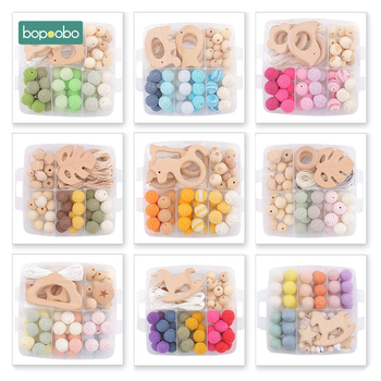 Bopoobo 1Set Baby Teether DIY Silicone Beads Pacifier Clip Chain Baby Mobile Wool Ball BPA Free Wooden Crochet Beads Teether