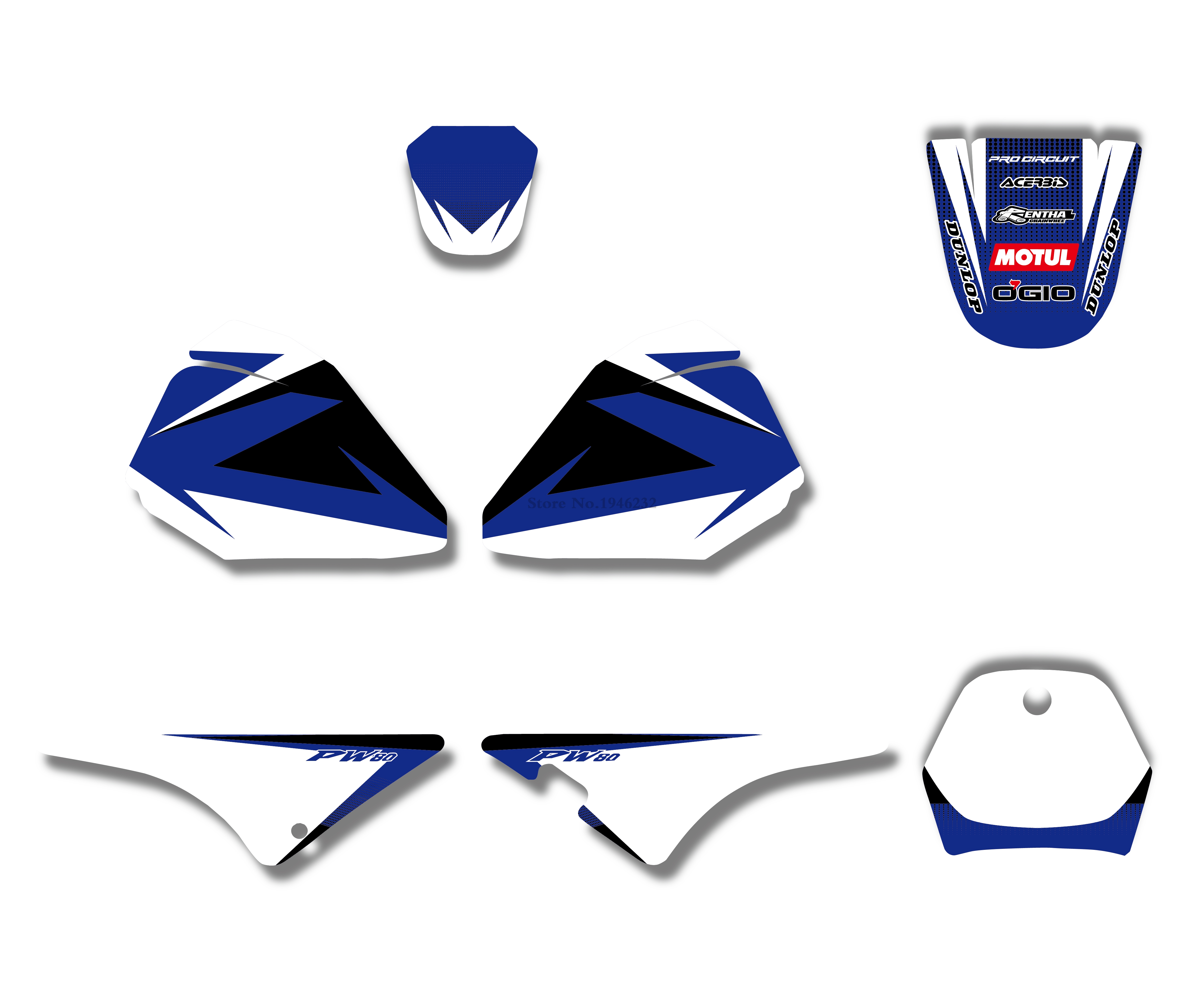 SCATTER Team Racing Graphics kit for All Years Yamaha PW 80