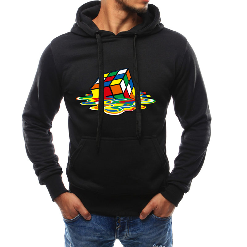 Men's Clothing Melted Cube Funny Tracksuit Mens Hoodies And Sweatshirt With Hoodies Men Streetwear Style Men Clothing Roupas
