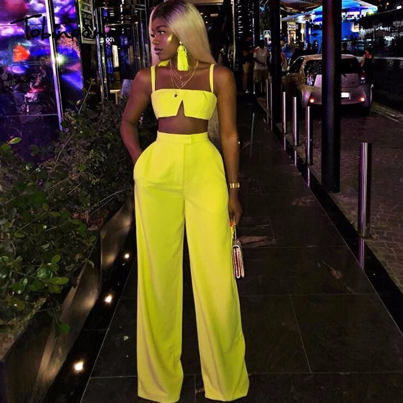 Tobinoone Slim Jumpsuit Women <font><b>Sexy</b></font> Slash Neck Bodycon Women Rompers crop trop and pants 2018 Summer <font><b>Festival</b></font> two piece Jumpsuit image