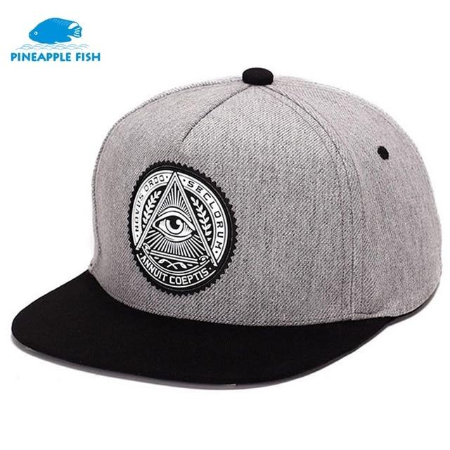 2017 Fashion Round Label Triangle Eye Illuminati Snapback Caps Women  Adjustable flat brim Baseball Cap Snapbacks Hip Hop Hats 02c3c4fefa4