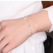 Mulheres de luxo Da Marca Pulseira 925 Único Prata Clover Charm Bracelet para Mulheres Pulseiras & Bangles Jóias