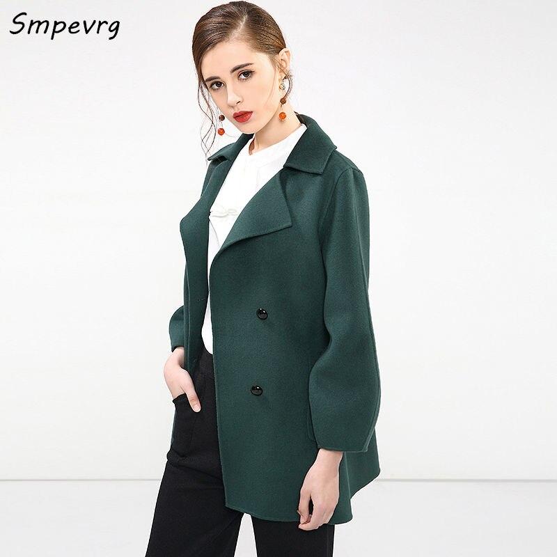 Vêtements Tour bas Double Femmes dark Red blue Green Trois Manteau gray Smpevrg dark Chaud Cachemire De Quart Court En D'hiver Rice Col Tissu zvqwOtx