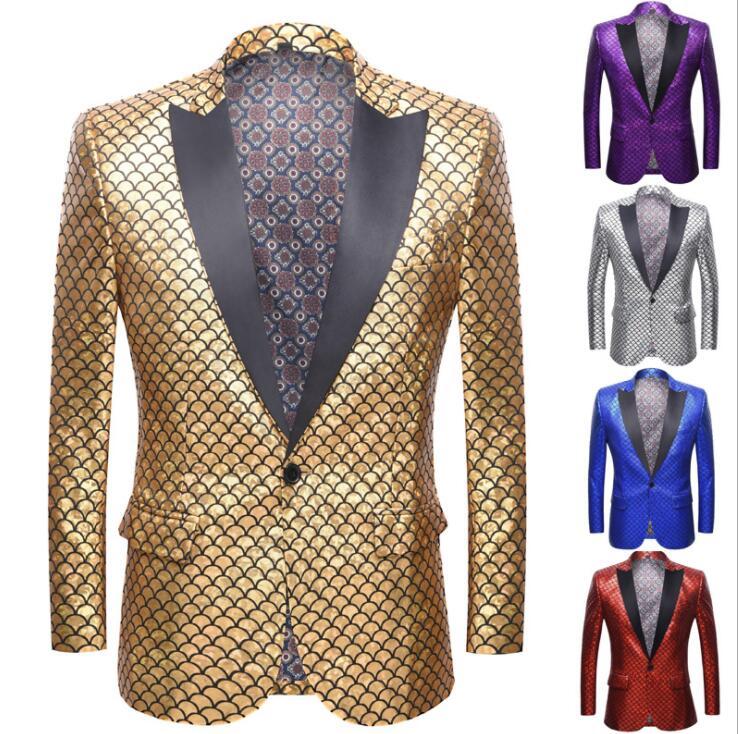 Laser Fish Scale Bronzing Blazer Men Groom Suit Trajes De Novio Boda Costume Singer Star Style Dance Stage Clothing Formal Dress