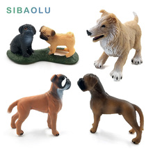 Simulation dog animals model figurine set toys statue miniat