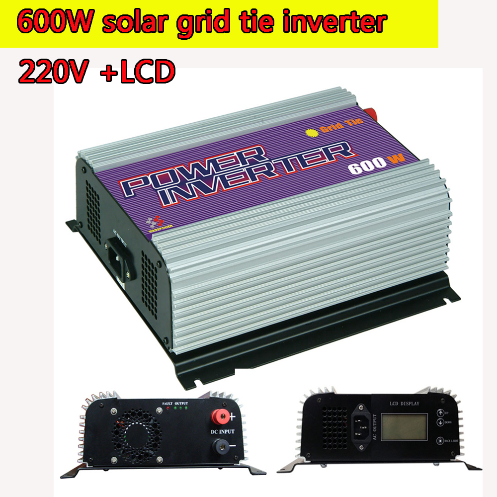 600W Grid Tie Power Inverter LCD 220V  Pure Sine Wave DC to AC Solar Power Inverter MPPT 10.8V to 30V or  22V to 60V Input  NEW solar power on grid tie mini 300w inverter with mppt funciton dc 10 8 30v input to ac output no extra shipping fee