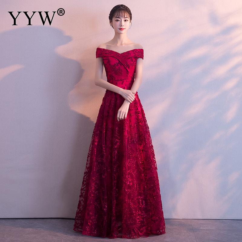 Elegant Red Floral Lace Wedding Bridal Gown Tulle Flowers Evening Dresses 2019 Sexy Off Shoulder Formal Dress Fashion Long Dress