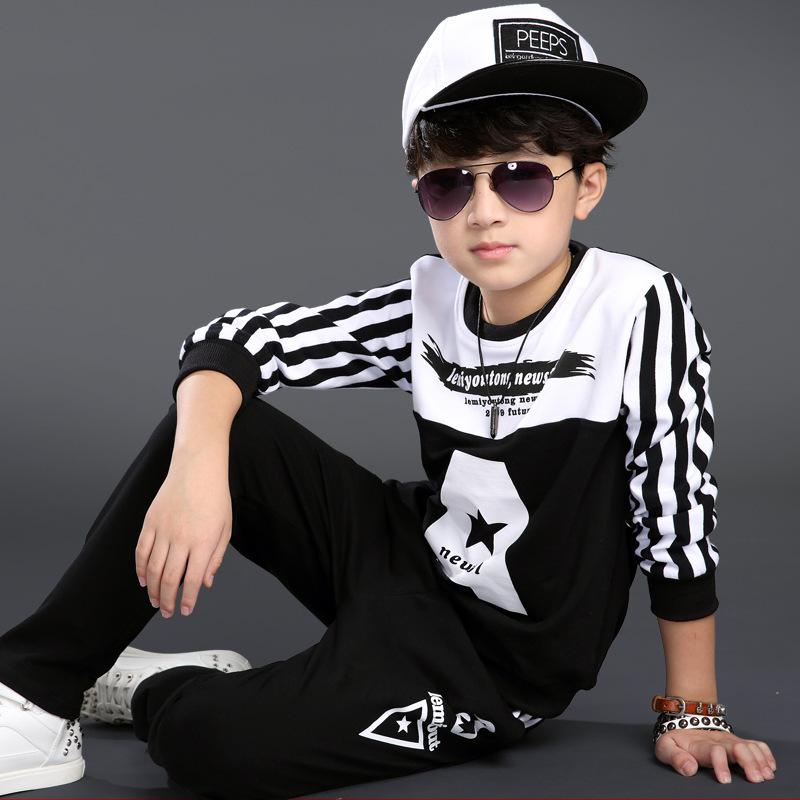 Letter Boys Clothing Set Pullover O Neck T Shirt Pants 2016 Spring Autumn Children s Sports