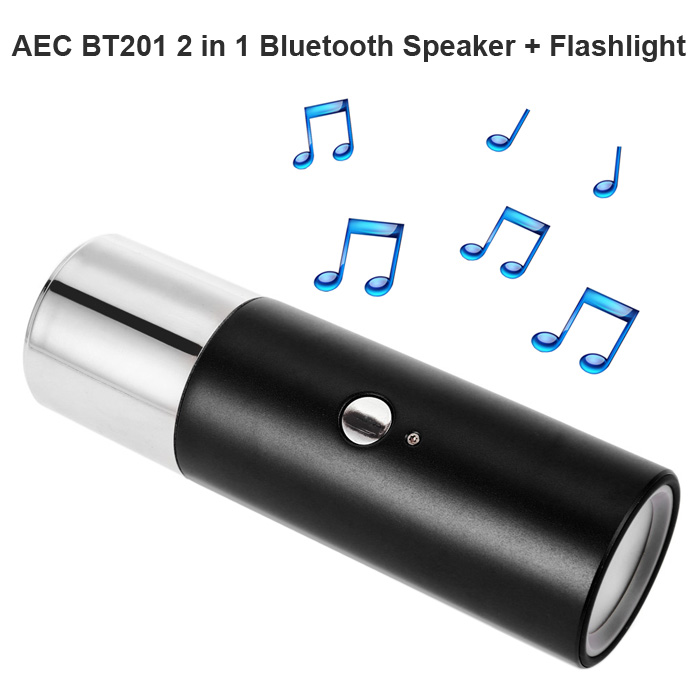 AEC BT201 Waterproof Speaker Mini 2 In 1 Wireless Bluetooth V3.0 Support Hands-Free Calls LED Flashlight Torch Loudspeakers Gift