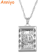 Anniyo Silver Color Allah Pendant Necklace Muhammad Muslim Islamic Arab Jewelry for Women Men Prophet Middle East Style #200204(China)