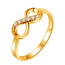 2019 Fashion Inverted 8 Shaped Ring Crystal Zircon Metal Rhinestone Inlaid Ring Elegant Simple Ring Jewelry For Women Gift WD236 graceful rhinestone faux crystal ring for women