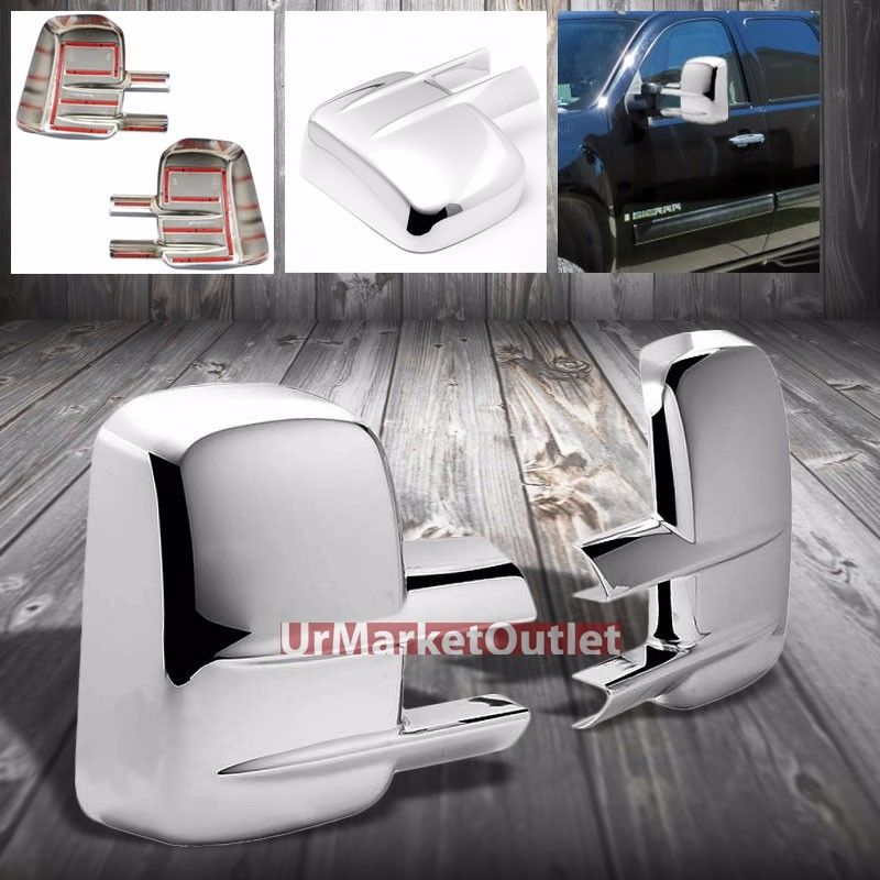 XYIVYG Chrome Side Exterior OEM TOW Mirror Cover Trim Ccap For Chevy 07-13 Silverado xyivyg 2002 03 04 05 06 07 08 chrome abs mirror cover handle cover for 02 08 for dodge ram 1500 2500 3500