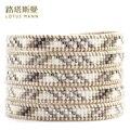 Lotus Mann híbrido arroz branco talão talão soletrando uma flor cinco voltas instintiva qualidade pulseira cordão de couro