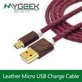 Couro MyGeek micro cabo usb para samsung galaxy s6 Android telefone MP3 MP4 GPS câmera cabo de carga rápida