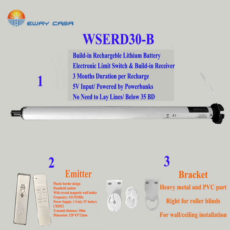 WIRELESS Tubular Motor For Motor Roller Blinds EWAY CASA 25mmDia. Lithium Batterey Rechargable QUIET 36DB Smart Home TM_30_B