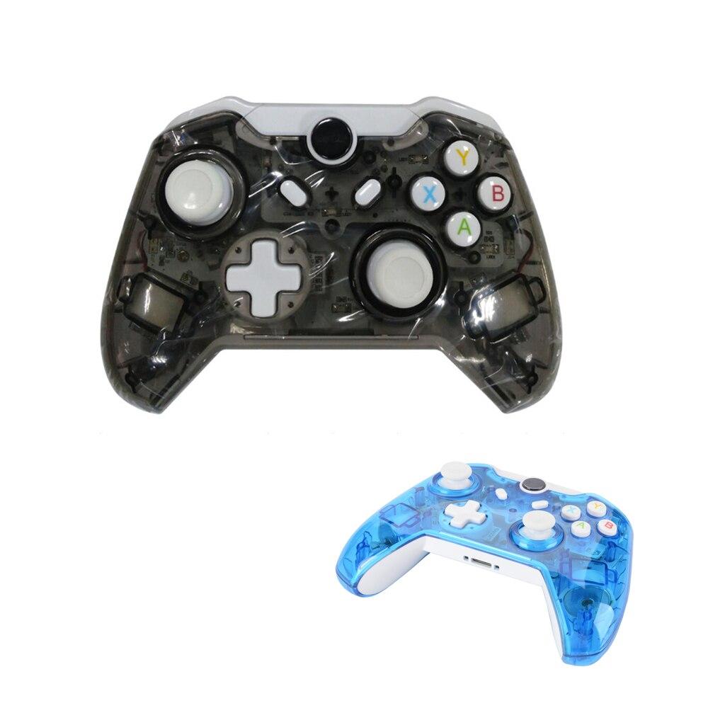 2 pièces Transparent Noir/Transparent Bleu manette sans fil pour Xbox Un