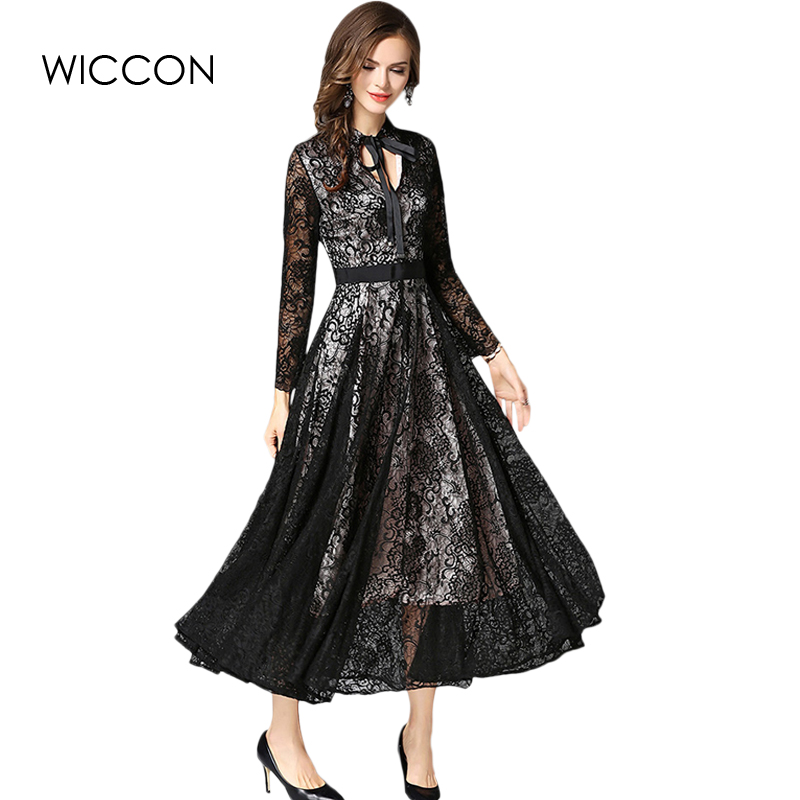 summer fashion lace dresses woman sexy mesh patchwork elegant dress office lady a-line ankle-length v-neck high defined waist