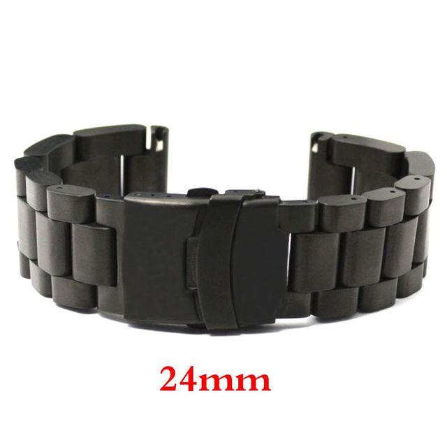 Homens da moda Womn Relógio Banda 24mm Preto Cinta de Aço Inoxidável por Horas com Folding Claps com Safty Substituição GD013524