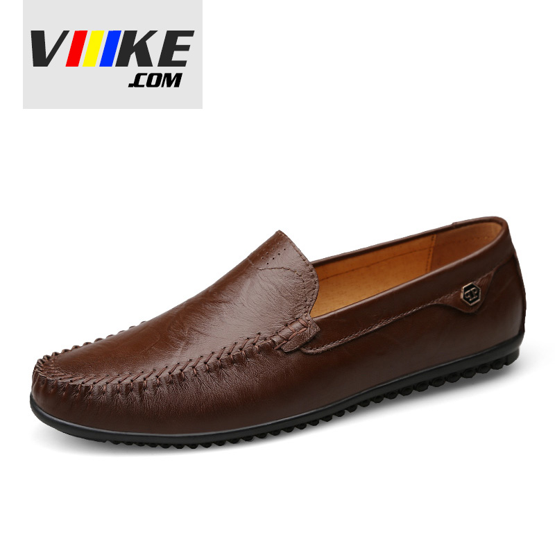 Viiikecom Hot mens shoes Handmade Leather genuine  flats shoes Loafers casual men Lightweight walking shoes Fashion Brand Brown