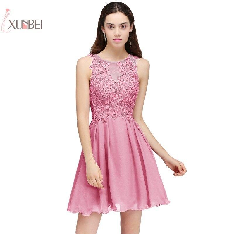 2019 Sexy Lace Applique Scoop Neck Chiffon Short   Prom     Dresses   A line Sleeveless   Prom   Gown gala jurken vestido de festa