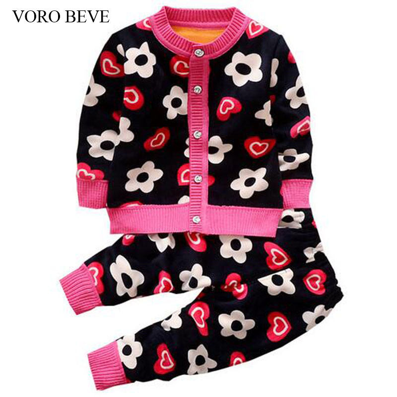 VORO BEVE 2017 New autumn Children clothing sets baby girls sweaters pattern clothes set kids knitted