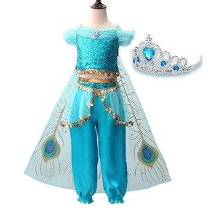 Image 2 - Mädchen Jasmin Kleid Up Kinder Halloween Weihnachten Prinzessin Jasmin Kostüme Für Kinder Party Bauchtanz Kleid Indische Disfraces