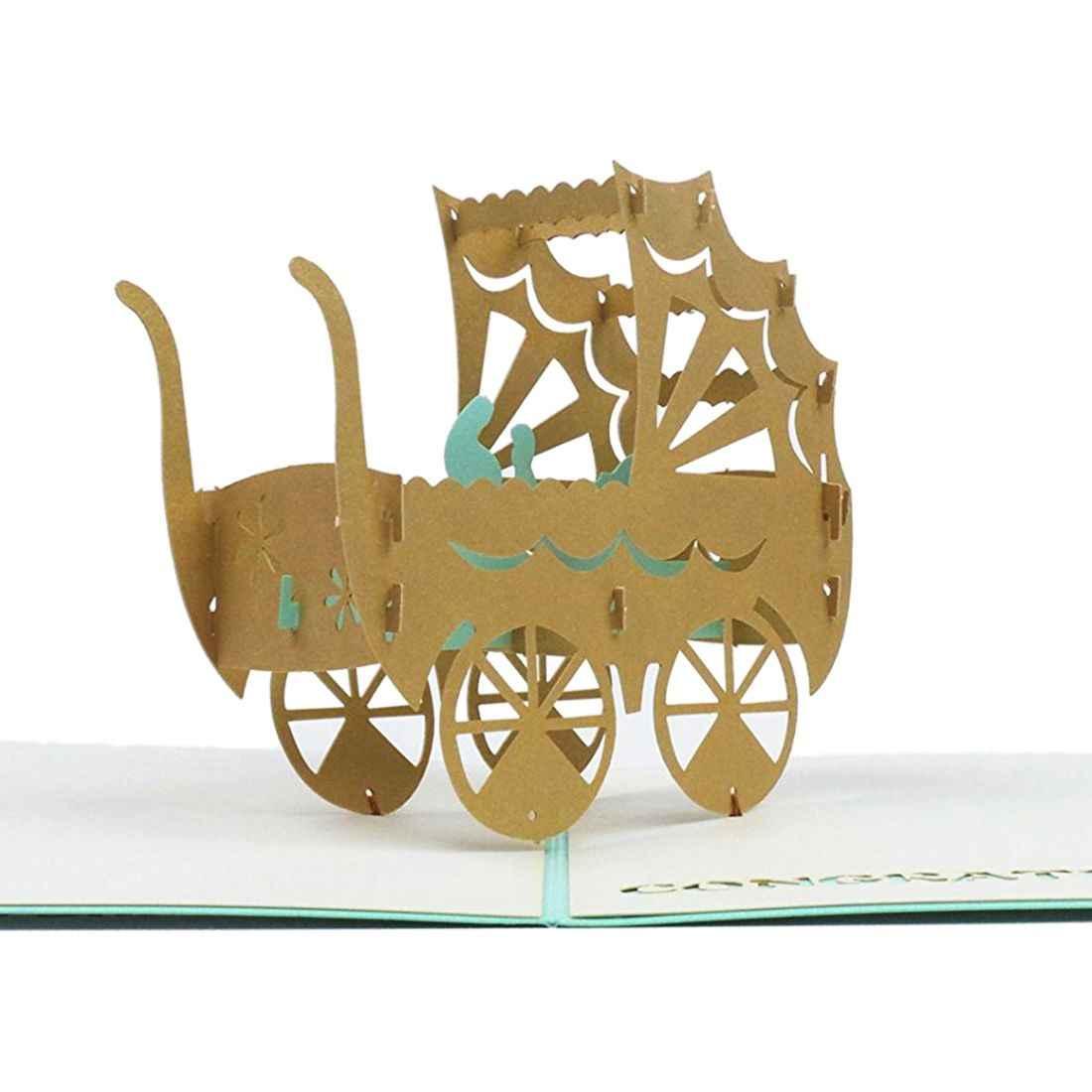 Perfect-3D الطفل في عربة بطاقة المنبثقة بطاقة عيد ميلاد الطفل هدية Kirigami اليدوية ورقة الفن فارغة 3D بطاقات المعايدة (الطفل فتاة)