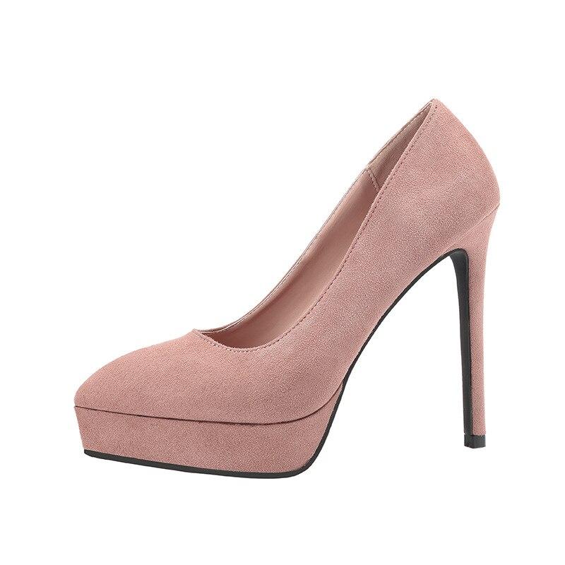 Women Pumps Fashion Classic Flock High Heels Shoes 13CM Nude Sharp Head Paltform Wedding Women Dress Shoes basic pump