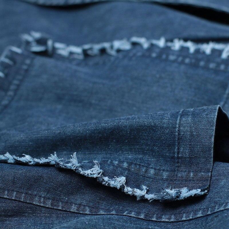 Blue Longue Et Grande Lâche Vintage Vêtements Conception Femelle Tranchée Hiver Rétro Nouvelle Automne Denim D'extérieur 2017 Fond L'expansion Taille fwUPq1W