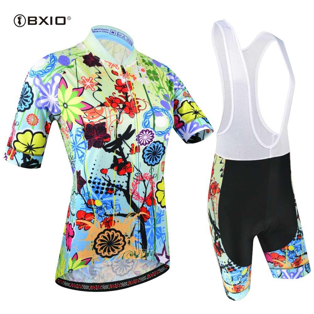 BXIO Women Cycling Jerseys Pro Cycling Clothing Bib Shorts Breathable Bicycle Wear Maillot Mujer Ciclismo Bike Clothes 187