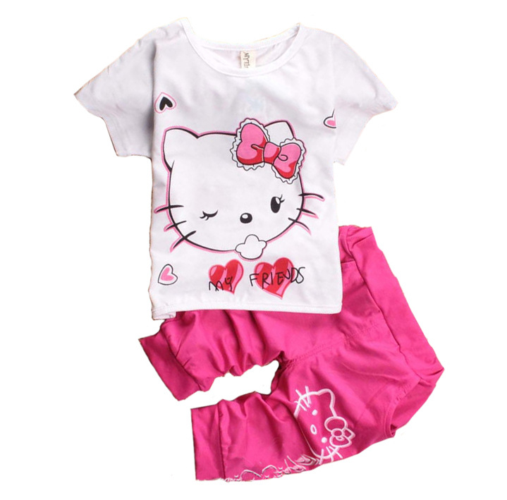 children's sets cartoon baby boys girls clothing set cotton short sleeve T-shirt + pants kids clothes 2017 summer new suits - lucky , market store