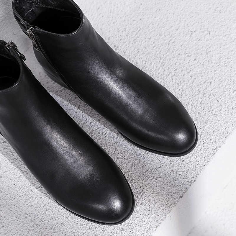 Artı Boyutu 34-42 kadın Hakiki Deri Ayak Bileği Metal Toka Sonbahar yarım çizmeler Yüksek Kalite El Yapımı Kısa Patik Ayakkabı kadın