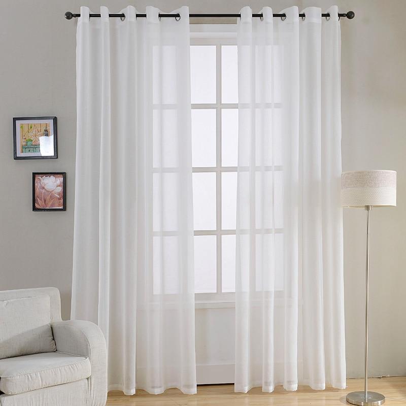 Modern Plain White Sheer Curtains For Living Room Bedroom Voile Tulle Window Kitchen Grommet