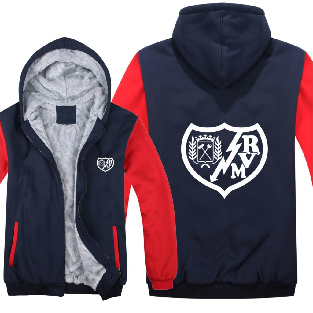 Rayo Vallecano Hoodies Men Coat Thicken Wool Liner Fleece Rayo Vallecano Sweatshirts Pullover