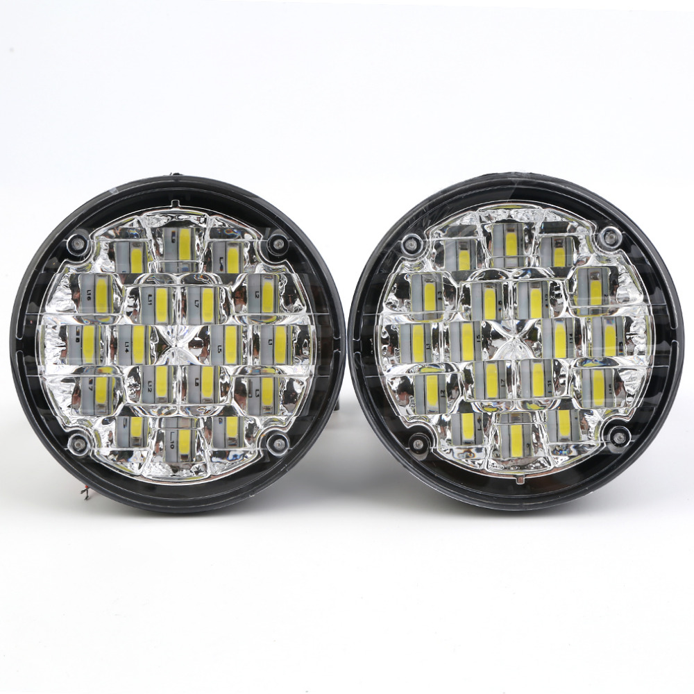 New 2X 18 LED 12V Round Car Motorcycle Daytime Running Lights Led DRL Fog Lamp Warning Fog Light Auto Car Lamp Drop Shipping