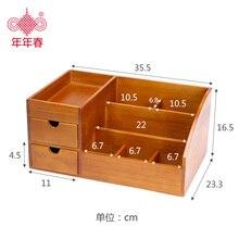 Storage Box Organizador Organizer Tissue Box Wooden Cosmetic Storage Dressing Table Top Desk Rack Skin Care Product Cabinet