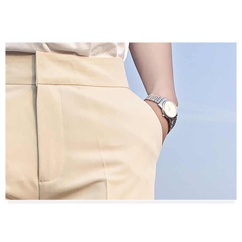 JUJULAND nuevos traje negro de cintura alta Mujer Pantalones de bolsillos Oficina señoras pantalones de moda de edad media 9020