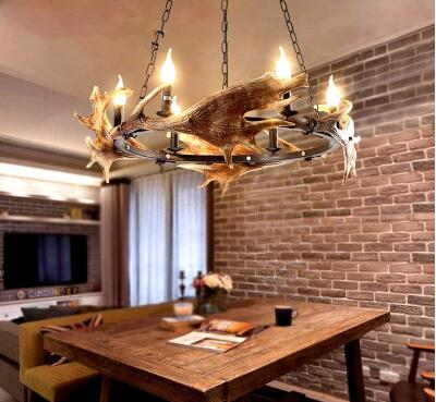 American country Pendant Lights creative restaurant lamps retro cafe wrought iron bar industrial wind art antlers LU829480 ascelina american retro pendant lights industrial creative rustic style hanging lamps pendant lamp bar cafe restaurant iron e27