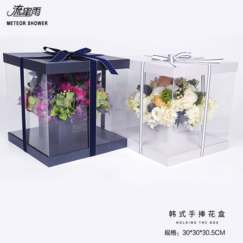 Hand holding flowers square transparent flower box roses flowers ...