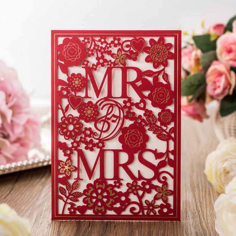 (10 piece/lot)Red White MR & MRS Laser Cut Luxury Wedding ...Red And White Wedding Invitations
