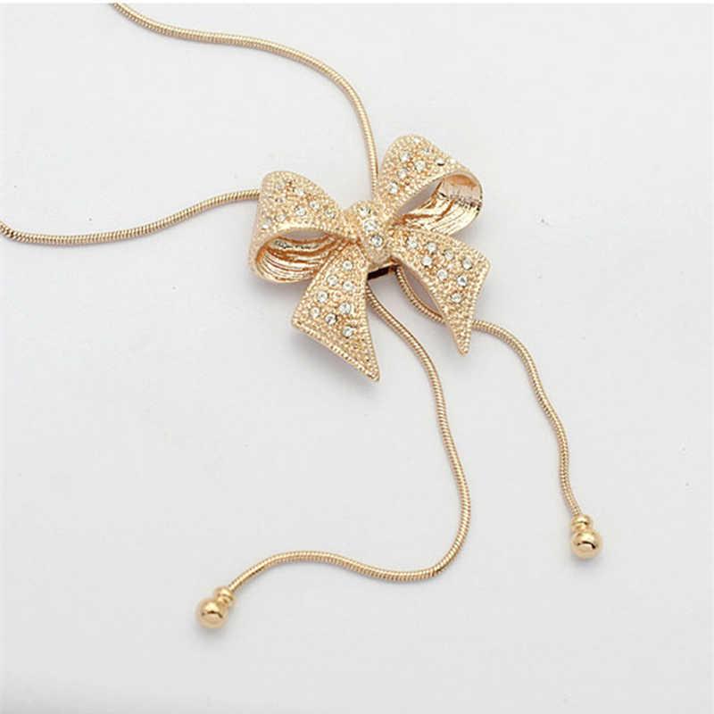 2019 moda długi komunikat złoty kolor i posrebrzane Crystal Bowknot wisiorki łańcuszek miedziany Chokers naszyjniki kobiety biżuteria