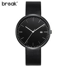 Break 2016 minimalista dos homens unisex do aço inoxidável e pulseira de couro genuíno fashion business casual vestido de quartzo relógios para as mulheres